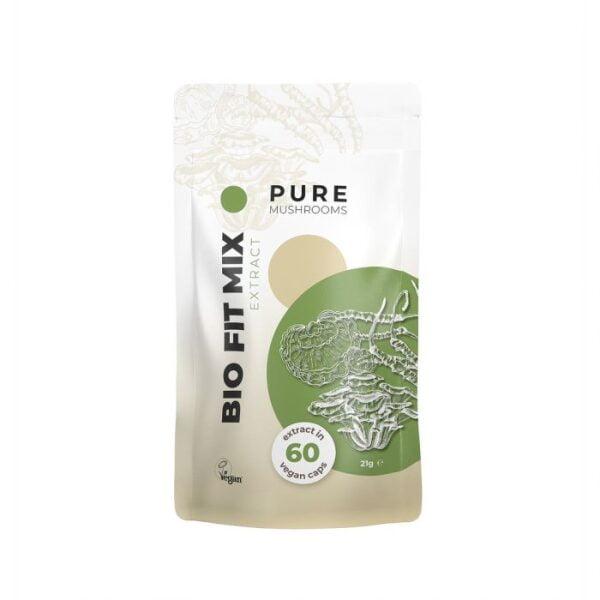 Pure Mushrooms Fit Mix Capsules Paddenstoel Extract BIO 60 Stuks